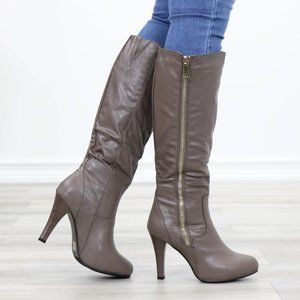 Knee High Heel Boots Synthetic Leather